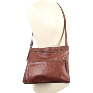 Margot One Size Brown Leather Boho Crossbody Bag